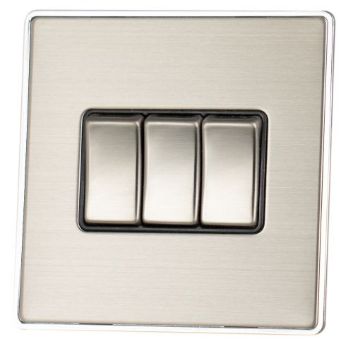 G&H LSS303 Screwless Brushed Steel 3 Gang 1 or 2 Way Rocker Light Switch